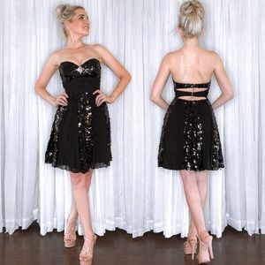 Black Sequin Fit Flair Homecoming Dress Tony Bowls